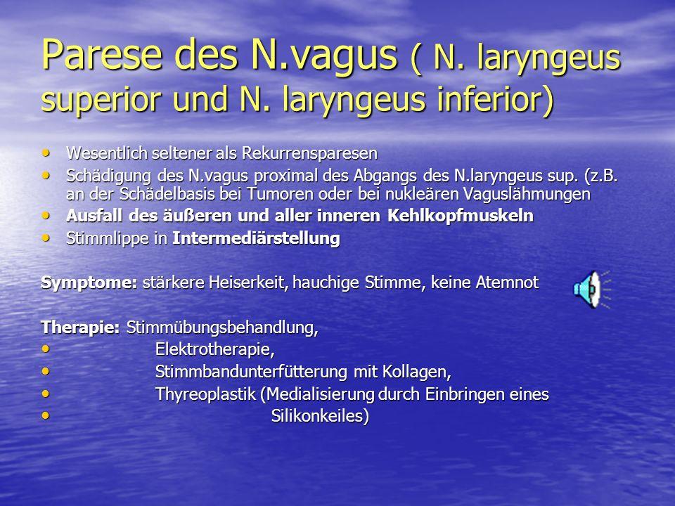 Parese des N.vagus ( N. laryngeus superior und N. laryngeus inferior)