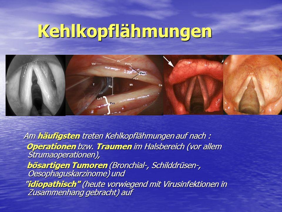 Kehlkopflähmungen Am häufigsten treten Kehlkopflähmungen auf nach : Operationen bzw. Traumen im Halsbereich (vor allem Strumaoperationen),