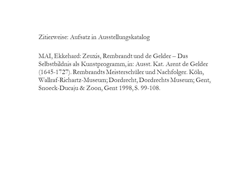 Zitierweise: Aufsatz in Ausstellungskatalog