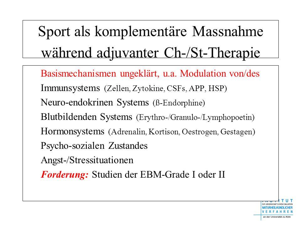 Sport als komplementäre Massnahme während adjuvanter Ch-/St-Therapie