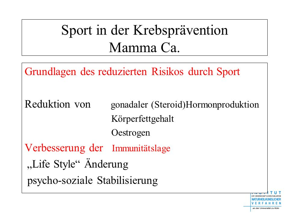 Sport in der Krebsprävention Mamma Ca.