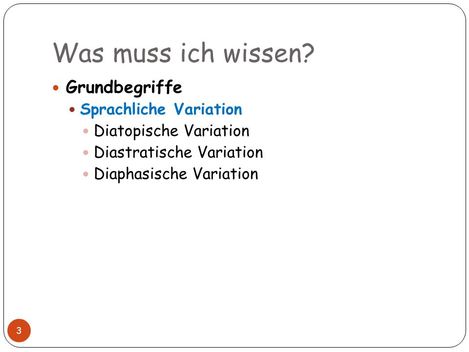 Was muss ich wissen Grundbegriffe Sprachliche Variation