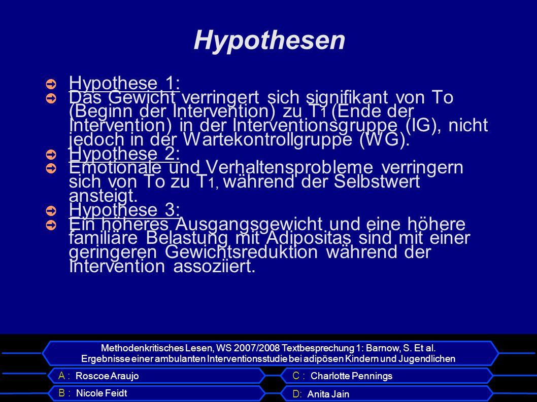 Hypothesen Hypothese 1: