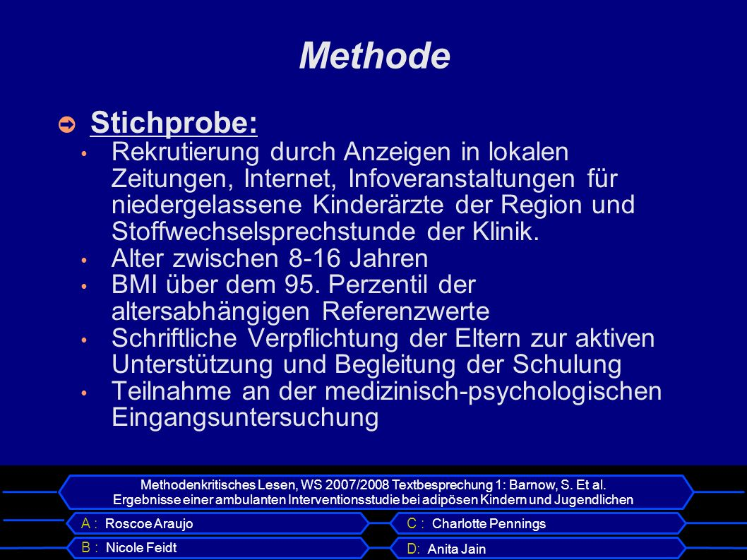 Methode Stichprobe: