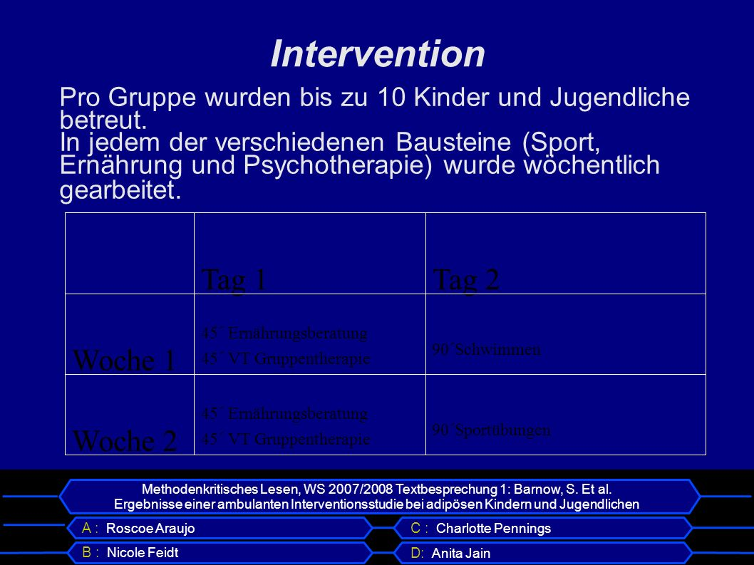 Intervention Woche 2 Woche 1 Tag 2 Tag 1