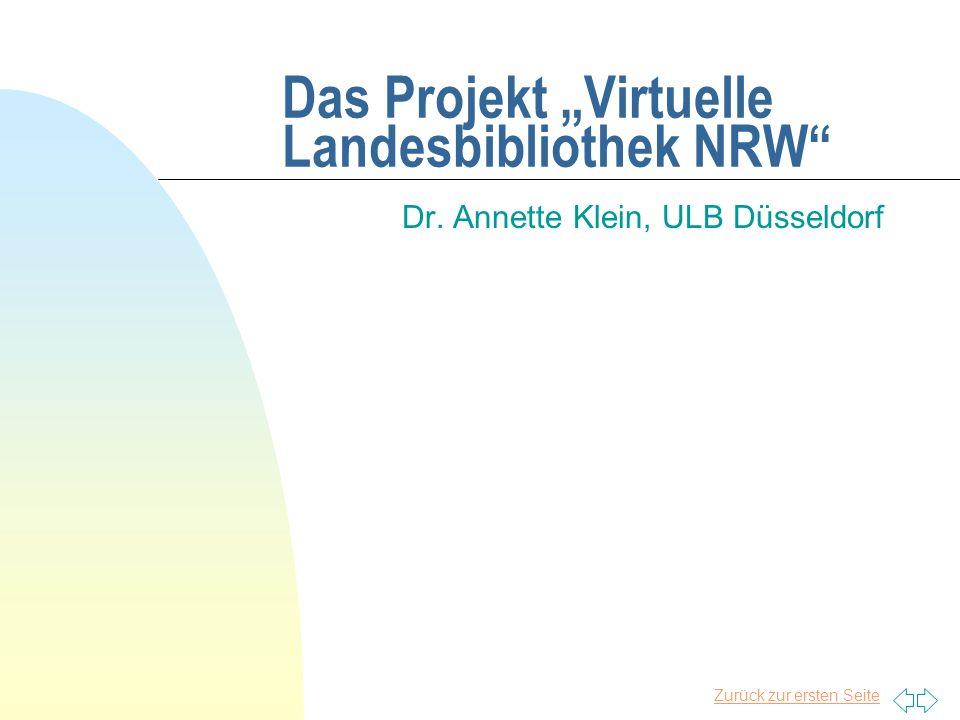 """Das Projekt """"Virtuelle Landesbibliothek NRW"""