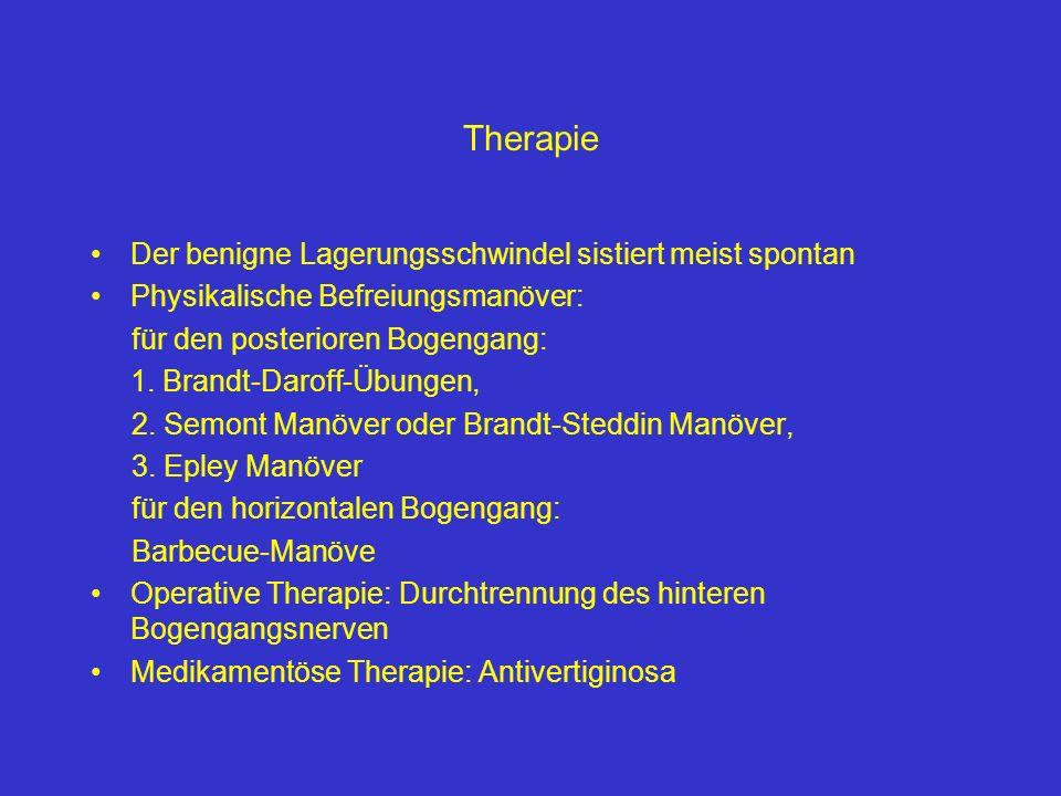 Therapie Der benigne Lagerungsschwindel sistiert meist spontan