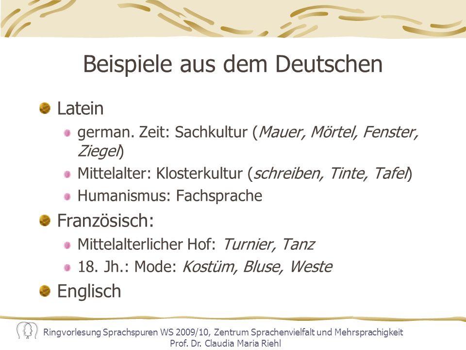 Beispiele aus dem Deutschen
