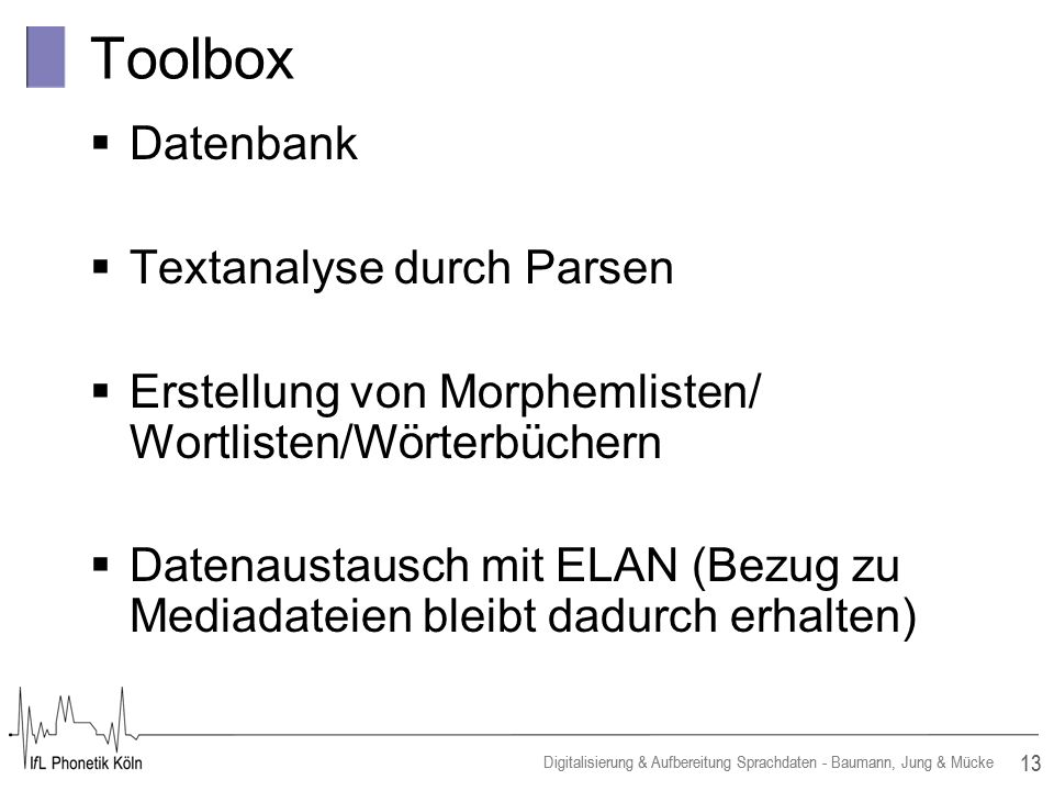 Toolbox Datenbank Textanalyse durch Parsen