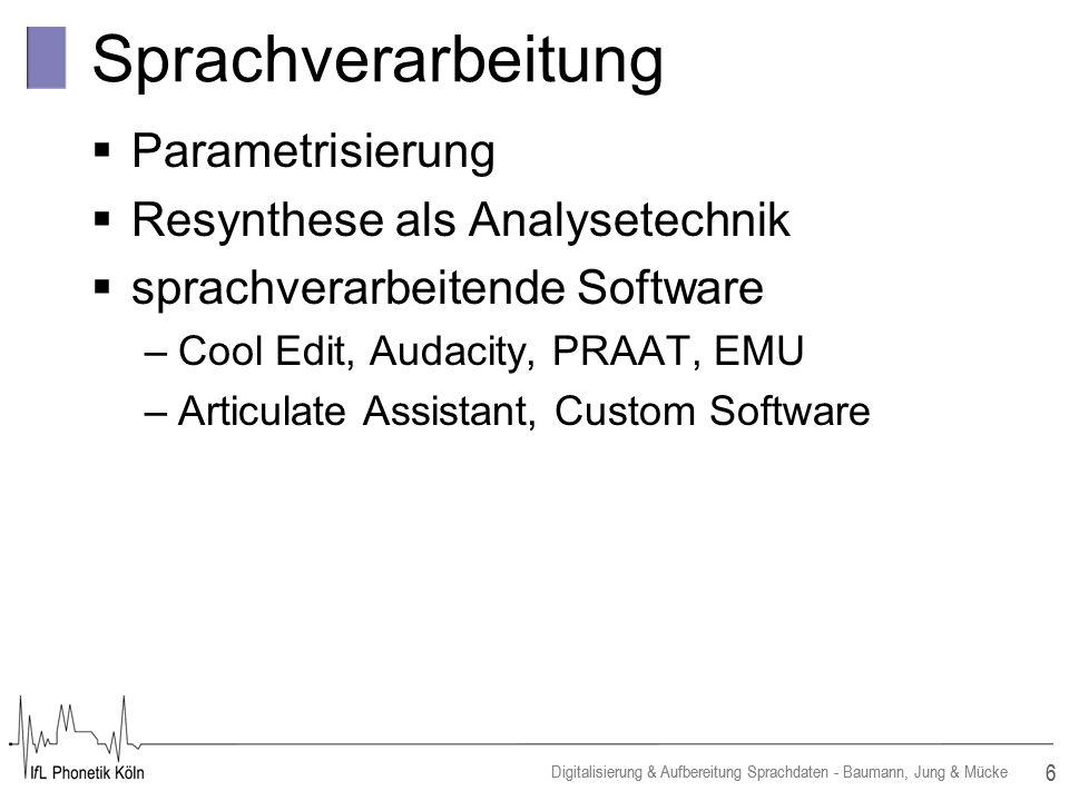 Sprachverarbeitung Parametrisierung Resynthese als Analysetechnik