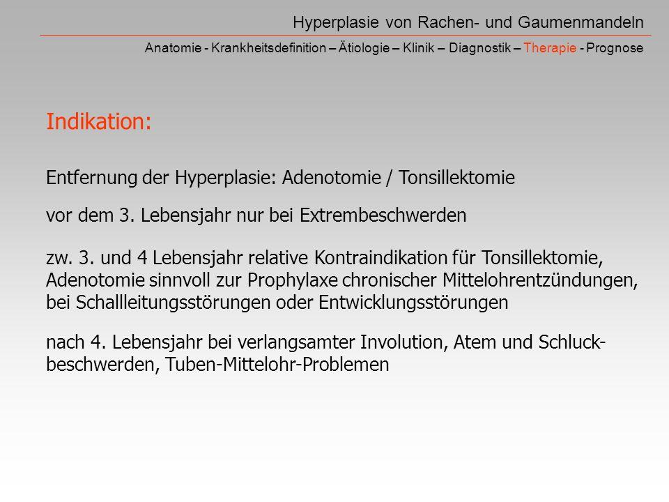 Indikation: Entfernung der Hyperplasie: Adenotomie / Tonsillektomie