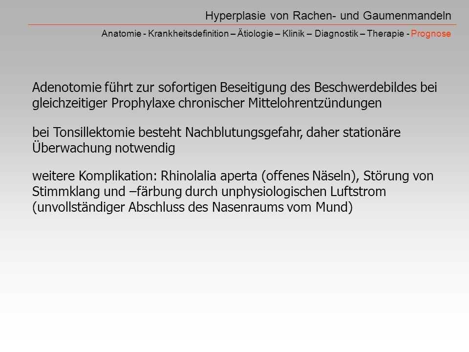Hyperplasie von Rachen- und Gaumenmandeln