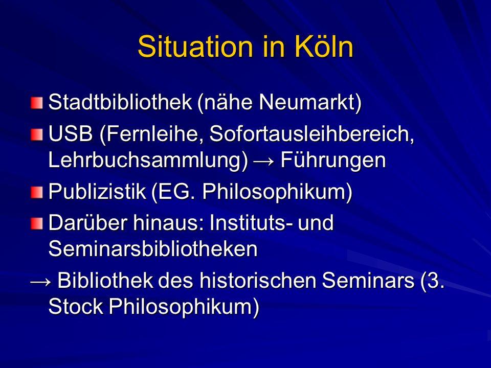 Situation in Köln Stadtbibliothek (nähe Neumarkt)