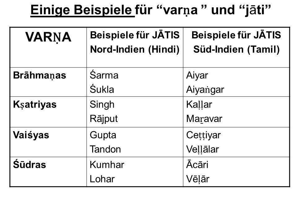Einige Beispiele für varṇa und jāti