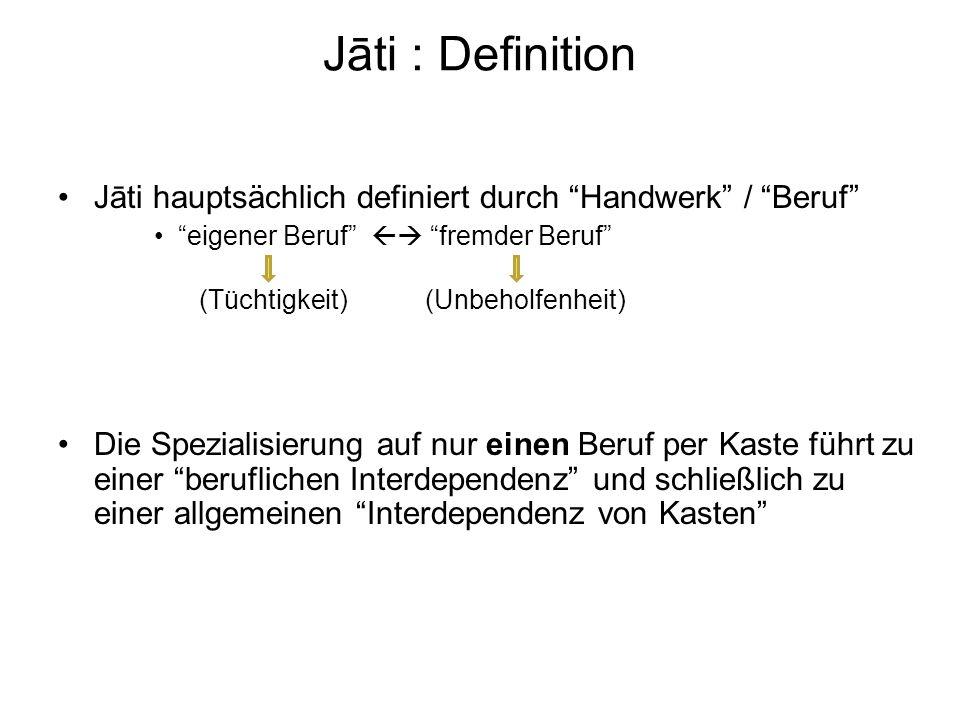 Jāti : Definition Jāti hauptsächlich definiert durch Handwerk / Beruf eigener Beruf  fremder Beruf