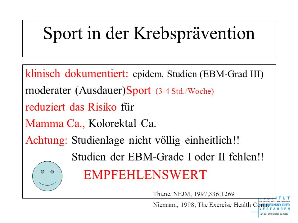 Sport in der Krebsprävention