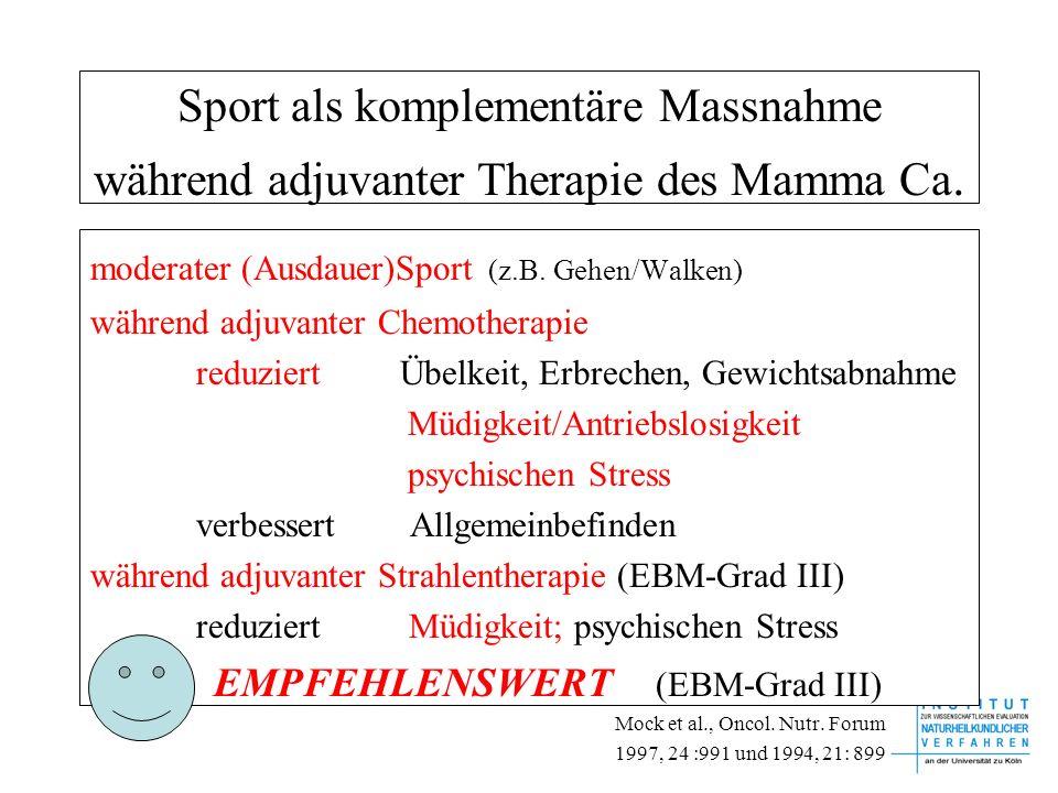 Sport als komplementäre Massnahme während adjuvanter Therapie des Mamma Ca.