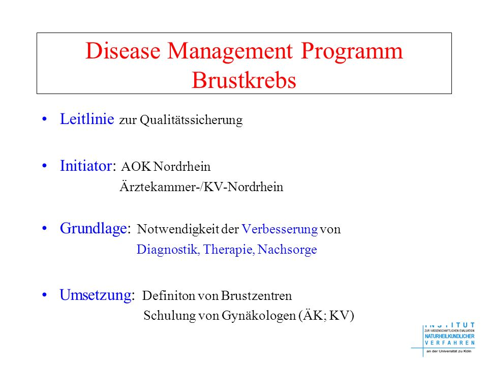 Disease Management Programm Brustkrebs