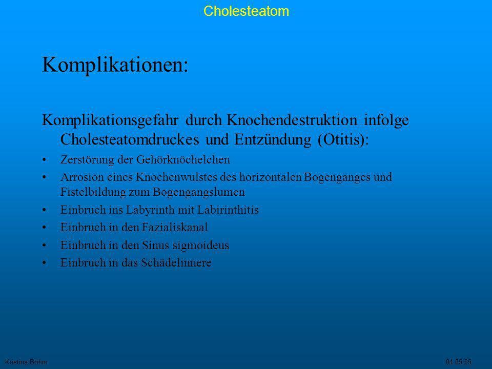 Komplikationen: Komplikationsgefahr durch Knochendestruktion infolge Cholesteatomdruckes und Entzündung (Otitis):