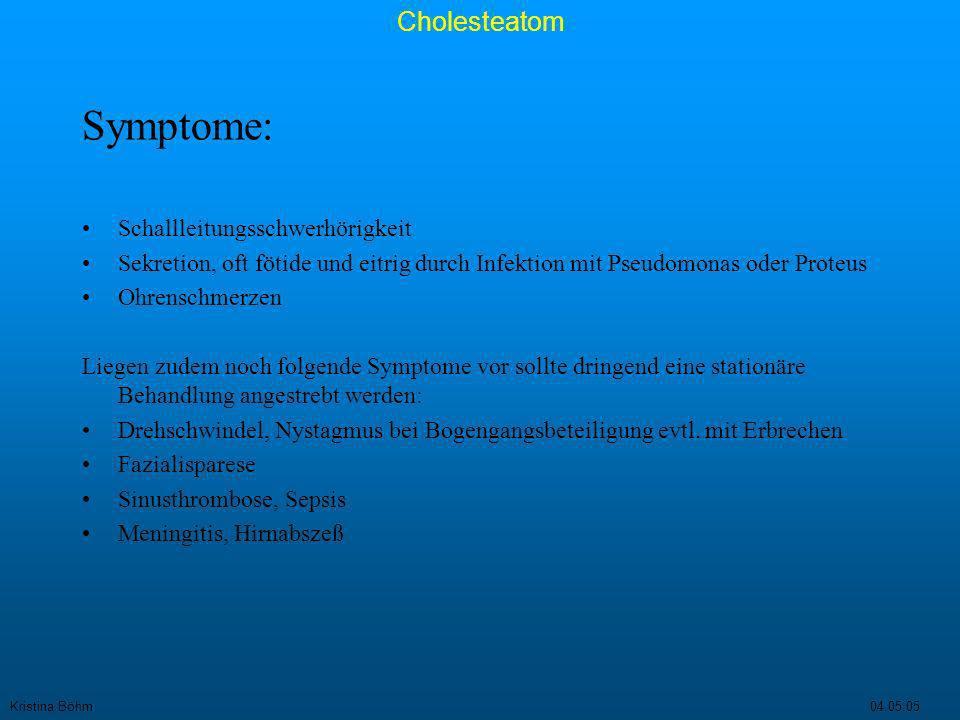 Symptome: Schallleitungsschwerhörigkeit