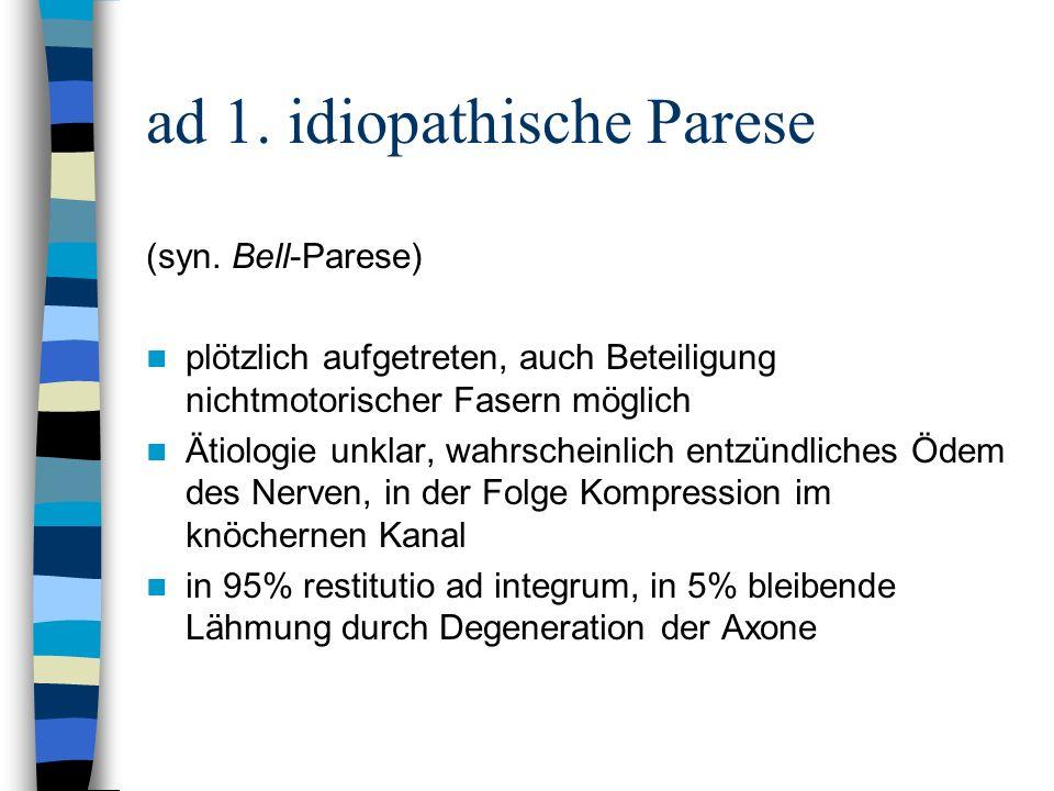 ad 1. idiopathische Parese