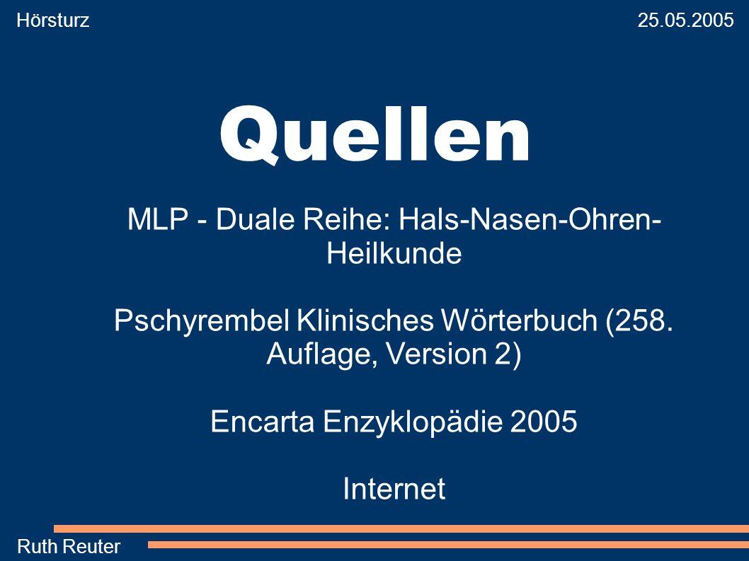 Quellen MLP - Duale Reihe: Hals-Nasen-Ohren-Heilkunde