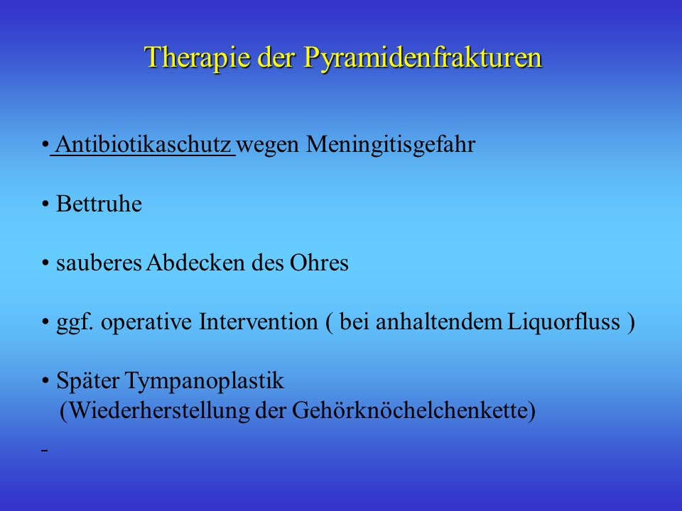 Therapie der Pyramidenfrakturen