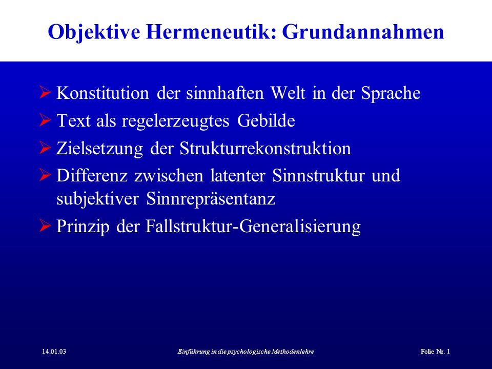 Objektive Hermeneutik: Grundannahmen