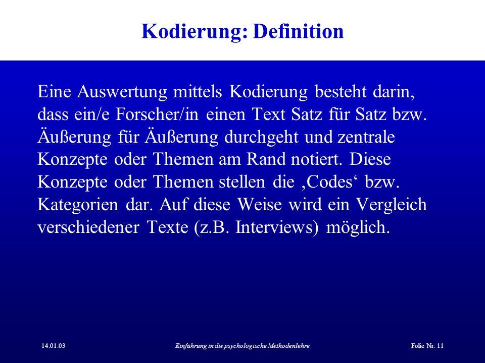 Kodierung: Definition