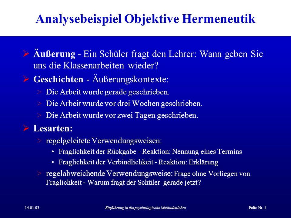 Analysebeispiel Objektive Hermeneutik