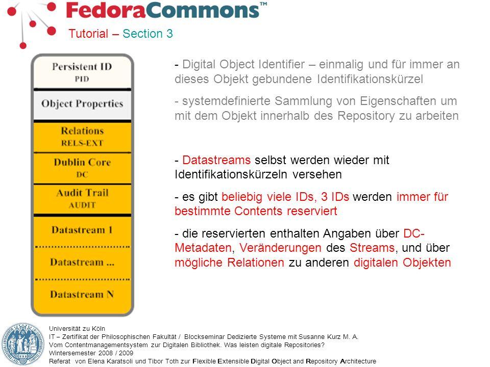 Datastreams selbst werden wieder mit Identifikationskürzeln versehen
