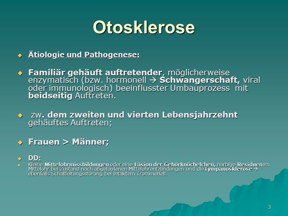 Otosklerose Ätiologie und Pathogenese: