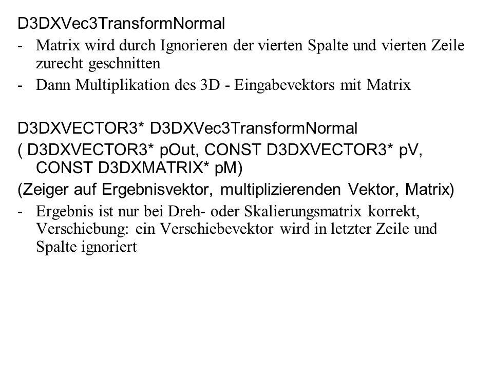 D3DXVec3TransformNormal