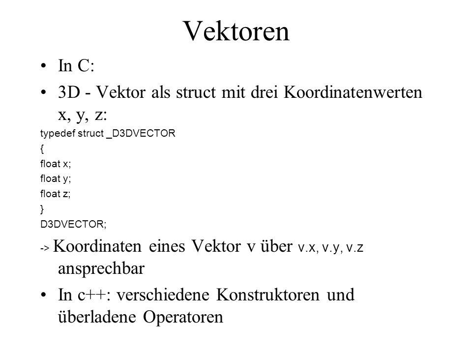 VektorenIn C: 3D - Vektor als struct mit drei Koordinatenwerten x, y, z: typedef struct _D3DVECTOR.