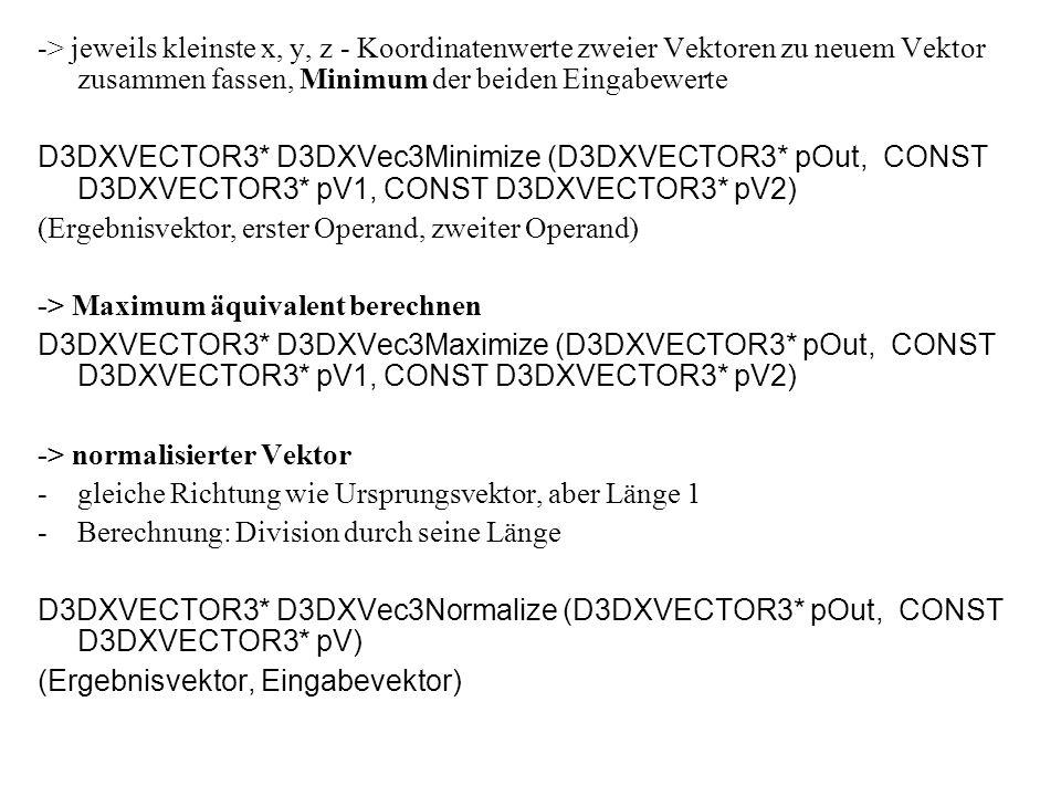 -> jeweils kleinste x, y, z - Koordinatenwerte zweier Vektoren zu neuem Vektor zusammen fassen, Minimum der beiden Eingabewerte