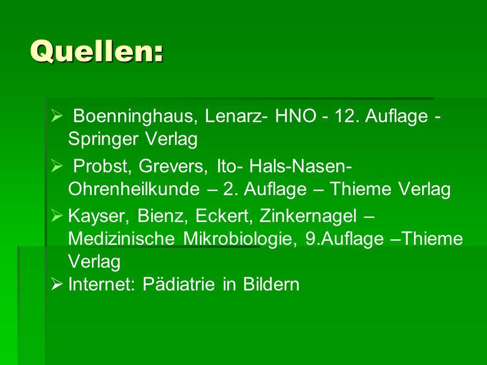 Quellen: Boenninghaus, Lenarz- HNO - 12. Auflage - Springer Verlag