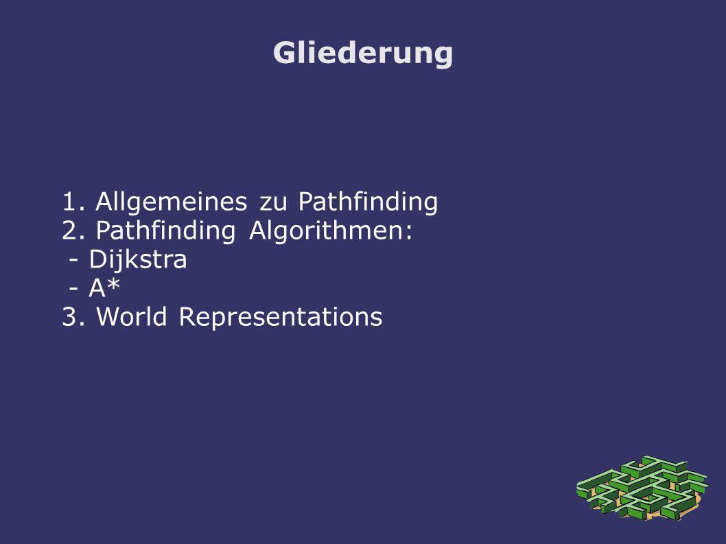 Gliederung 1. Allgemeines zu Pathfinding 2. Pathfinding Algorithmen: