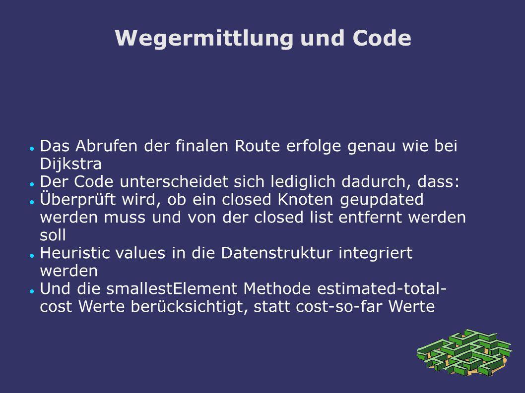 Wegermittlung und Code
