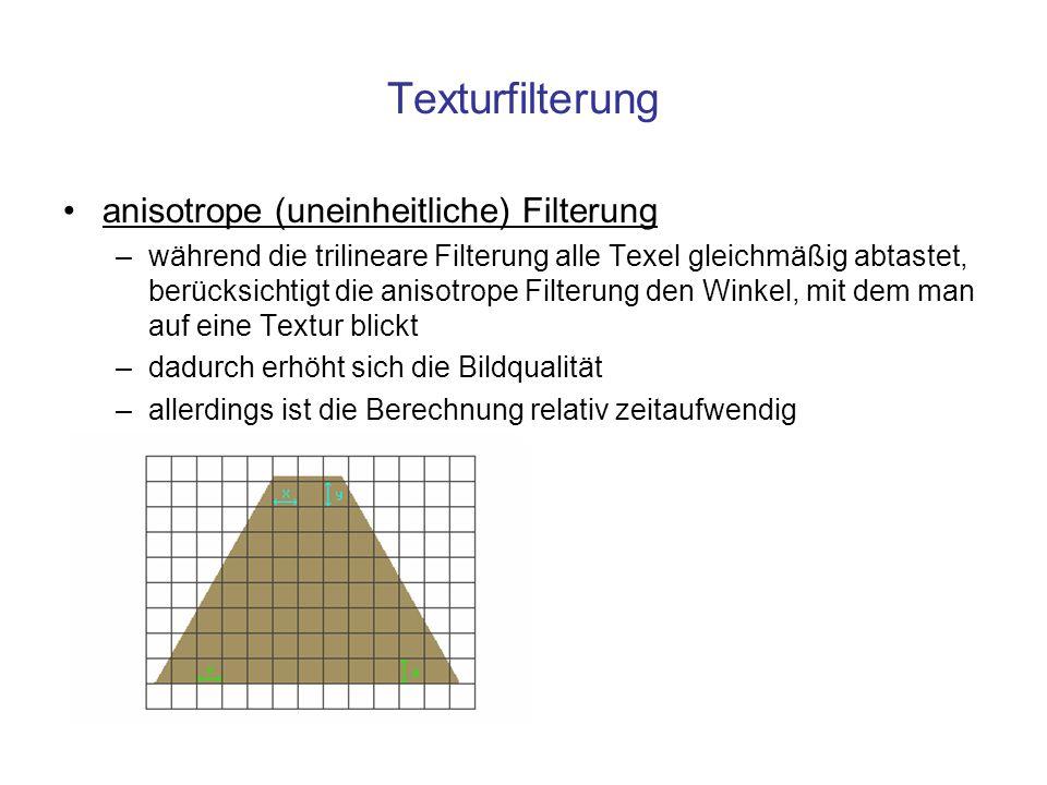 Texturfilterung anisotrope (uneinheitliche) Filterung