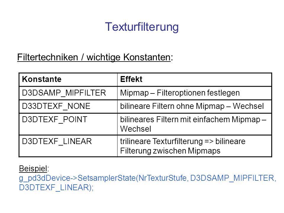 Texturfilterung Filtertechniken / wichtige Konstanten: Konstante