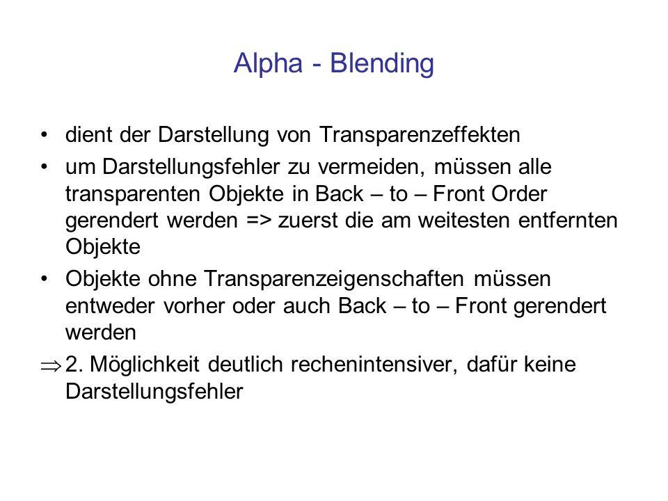 Alpha - Blending dient der Darstellung von Transparenzeffekten