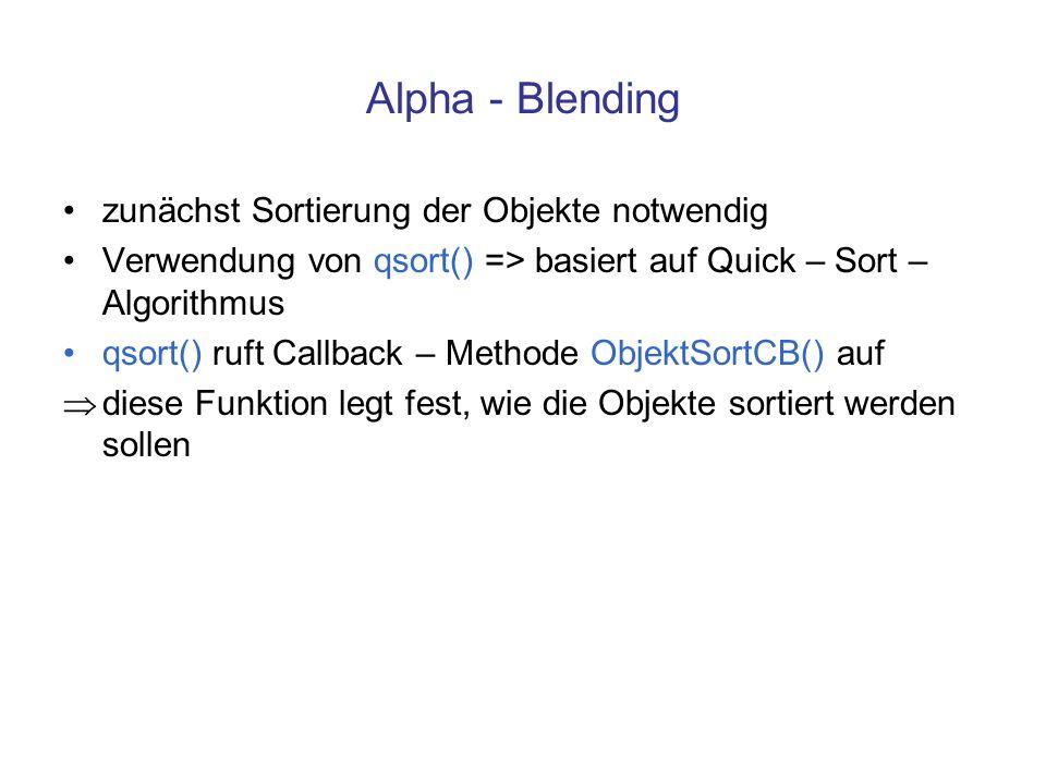 Alpha - Blending zunächst Sortierung der Objekte notwendig