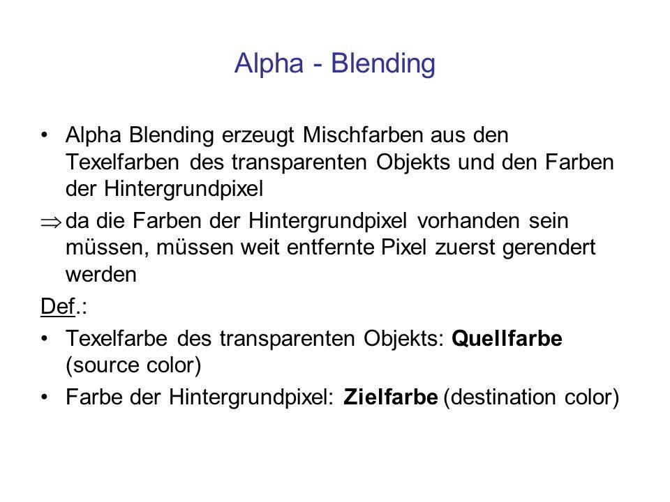 Alpha - Blending Alpha Blending erzeugt Mischfarben aus den Texelfarben des transparenten Objekts und den Farben der Hintergrundpixel.