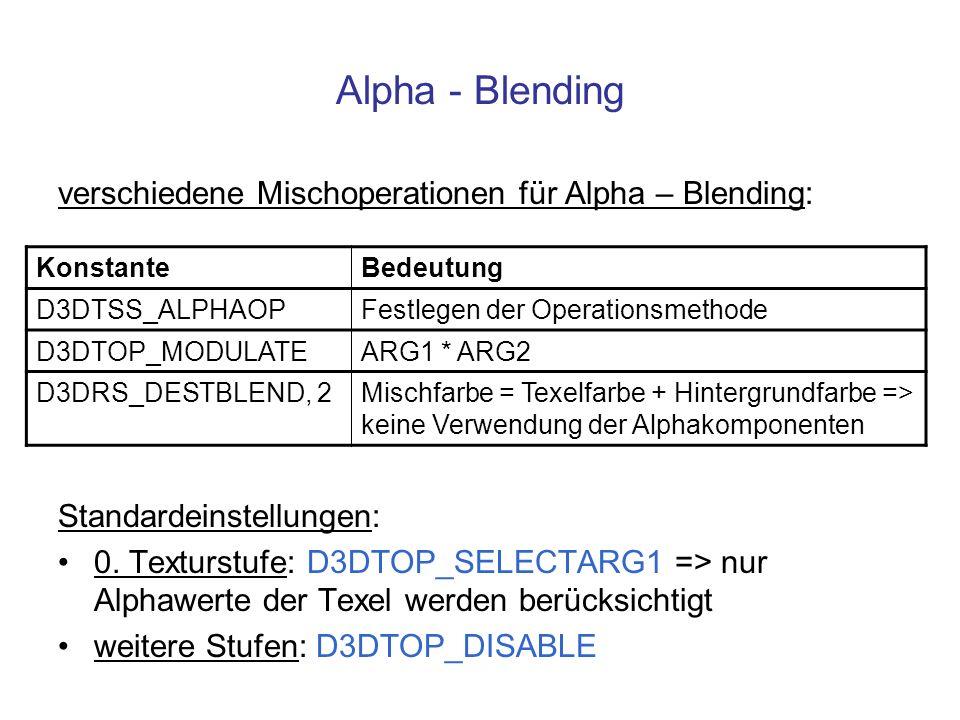 Alpha - Blending verschiedene Mischoperationen für Alpha – Blending: