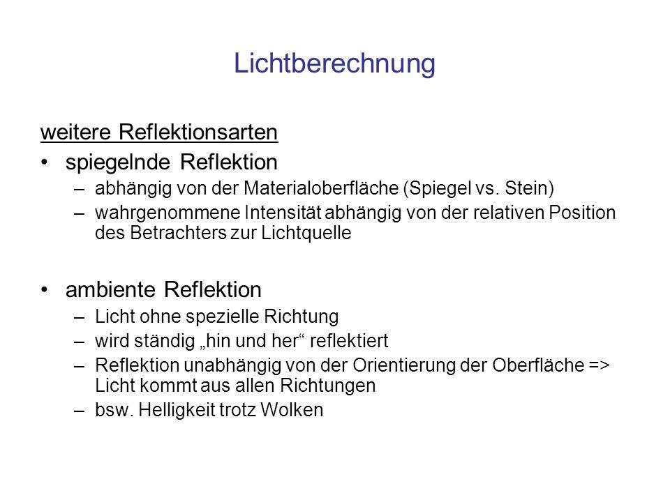 Lichtberechnung weitere Reflektionsarten spiegelnde Reflektion