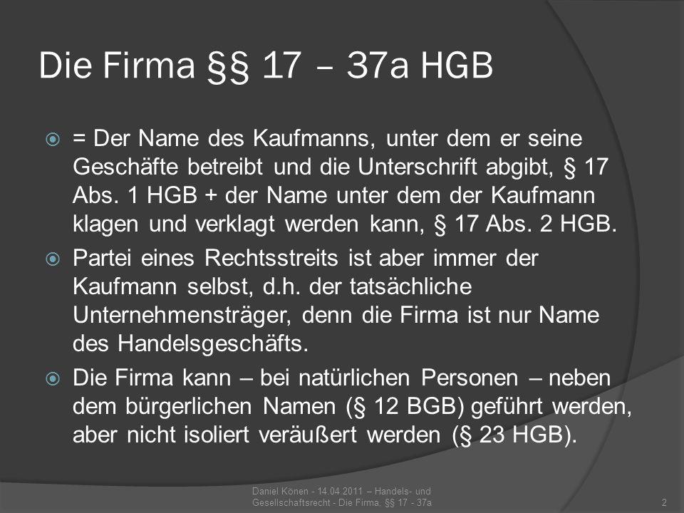 Die Firma §§ 17 – 37a HGB