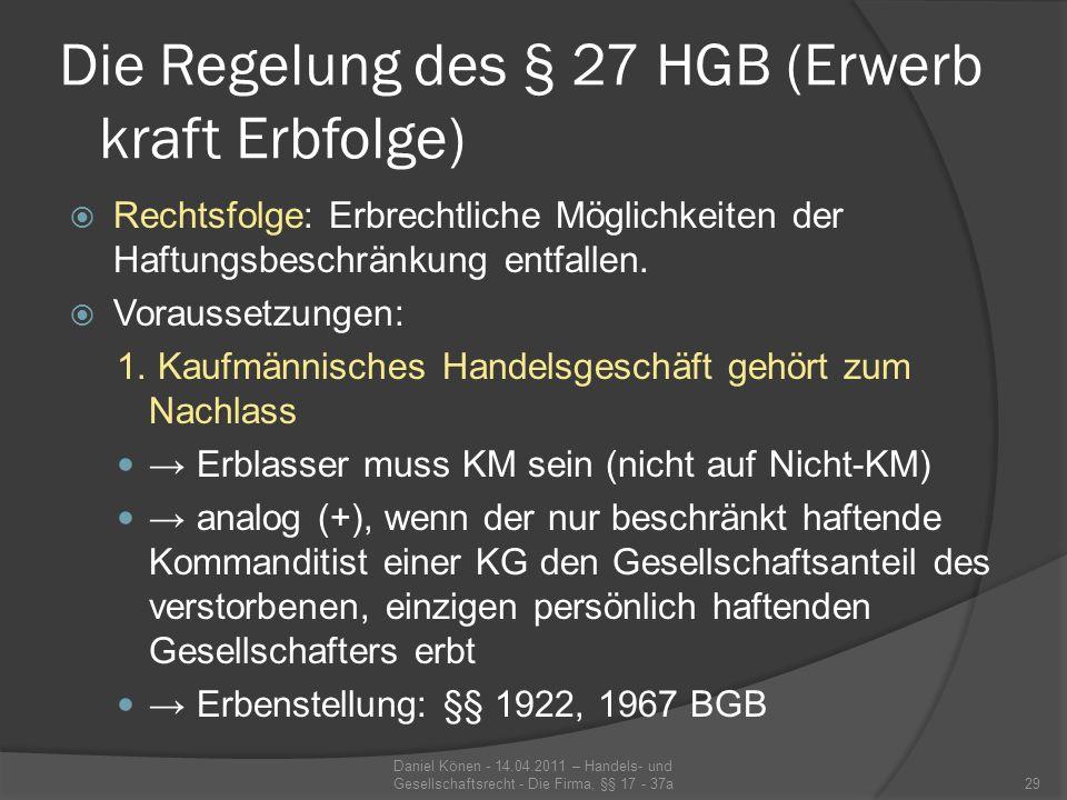 Die Regelung des § 27 HGB (Erwerb kraft Erbfolge)