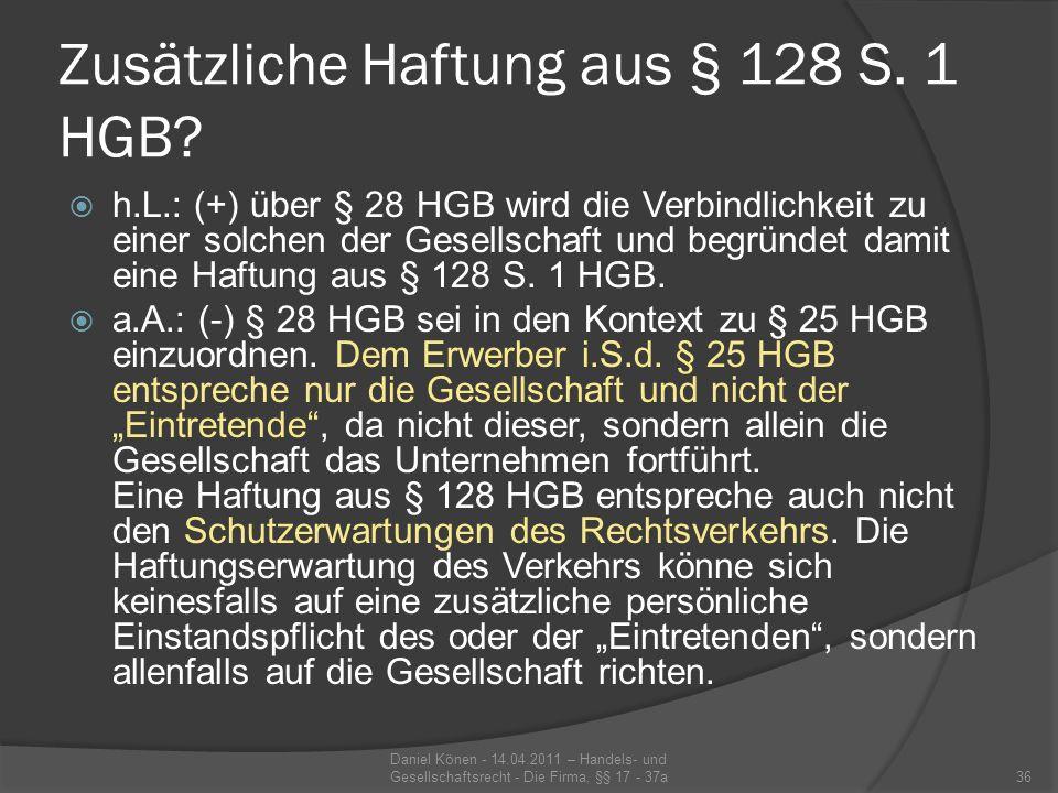 Zusätzliche Haftung aus § 128 S. 1 HGB