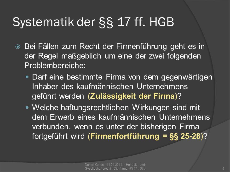 Systematik der §§ 17 ff. HGB