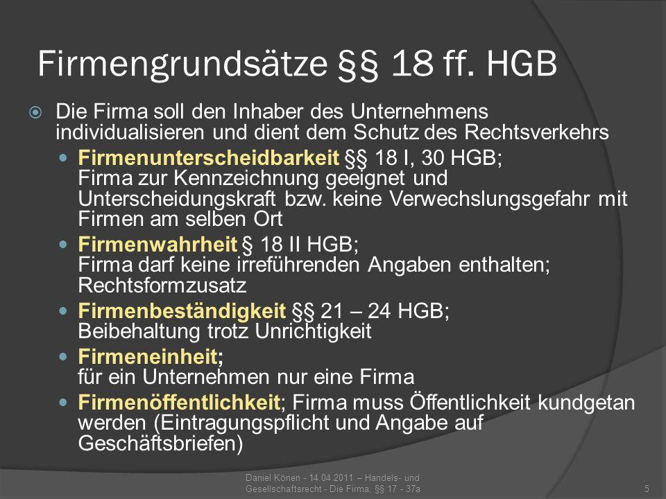 Firmengrundsätze §§ 18 ff. HGB